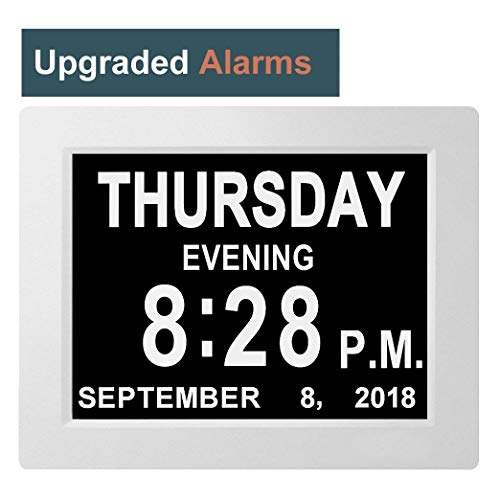 [8 Upgraded Alarms] Large Day Clock Digital Date Calendar for Memory Loss Elderly Seniors Dementia Sufferers Alzheimers Products Wall Vision Impaired Patients Kids Room (8'' White)