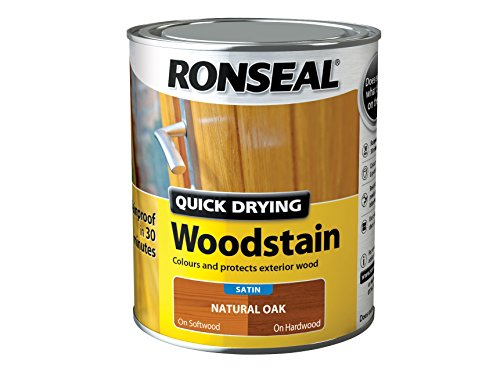 Ronseal QDWSNO750 750 ml Satin Finish Quick Dry Woodstain - Natural Oak