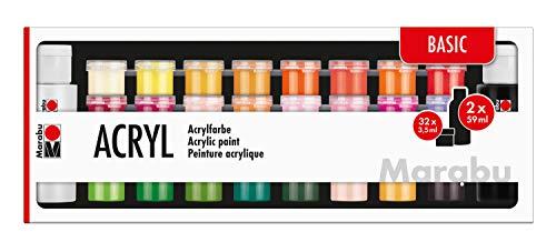 Marabu 1210000000208 - Großes Einsteigerset Acrylfarben Basic, 32 x 3,5 ml und 2 x 59 ml, auf Wasserbasis, wasserfest und lichtbeständig, schnelltrocknend für Keilrahmen, Papier, Pappe, Holz