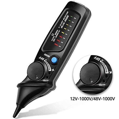 Spannungsprüfer Berührungsloser Spannungstester Spannungsmessgerät Durchgangsprüfer Einstellbare Empfindlichkeit mit LED Taschenlampe 12V-1000V/48V-1000V