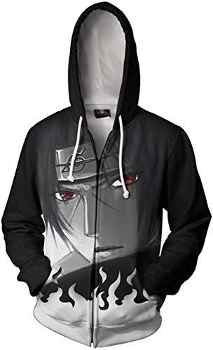 PANOZON Mens Naruto Zip Up Hoodies 3D Printed Front Pocket Loose Fit Cool Hoodies LSasuke Racket 02