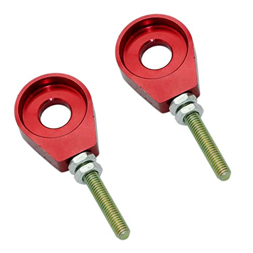 Sharplace 1 Paar 12mm Kettenspanner Für Pit Dirt Bike CRF50 Motorrad-Kettenspanner-Teile ATV-Kettenspanner-Spannerblock - Rot