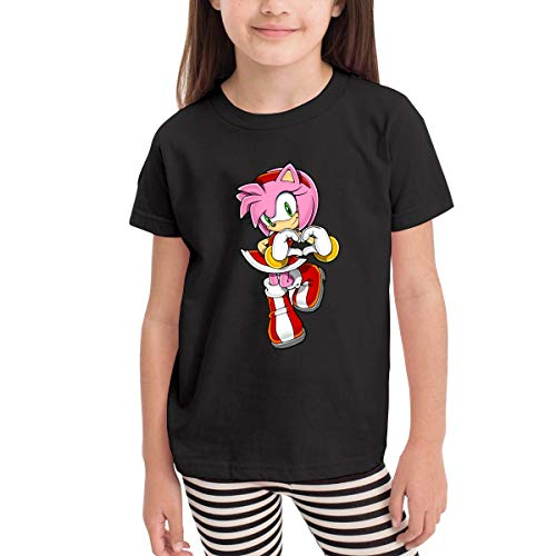 Sonic The Hedgehog Amy Rose Infant Children's Classic Short-Sleeved Shirt Black 2-6 3t
