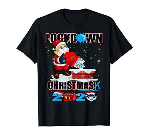 Lockdown Christmas 2020 Shirt Quarantine Santa Hat Camiseta