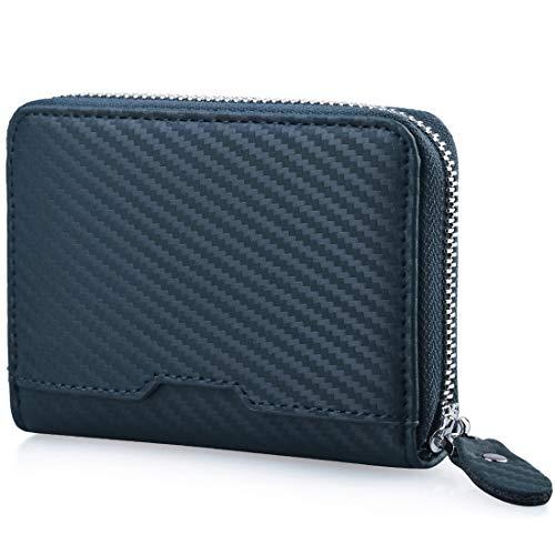 NUBILY 小銭入れ メンズ コインケース カード 革 財布 カーボンレザー 改良モデル ブラック 紺色