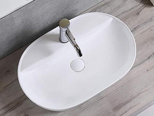 1x Handwaschbecken Waschbecken Keramik oval Aufsatz groß Bad mit Hahnloch 50 cmL 38 cmB