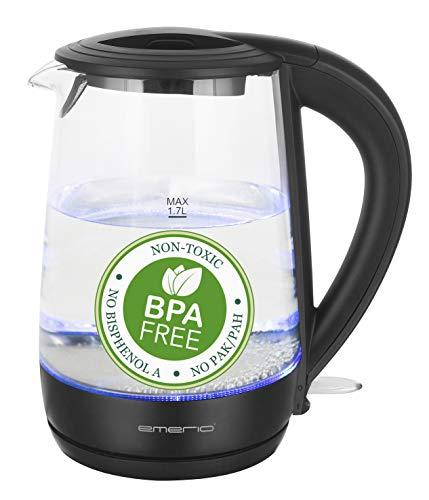 Emerio Glas Wasserkocher | 1.7L Volumen | BPA frei | aus bestem Borosilikatglas | 2200 Watt | blaue LED Innenbeleuchtung | Überhitzungsschutz | mit hochwertigem Edelstahl Heizelement | WK-123124