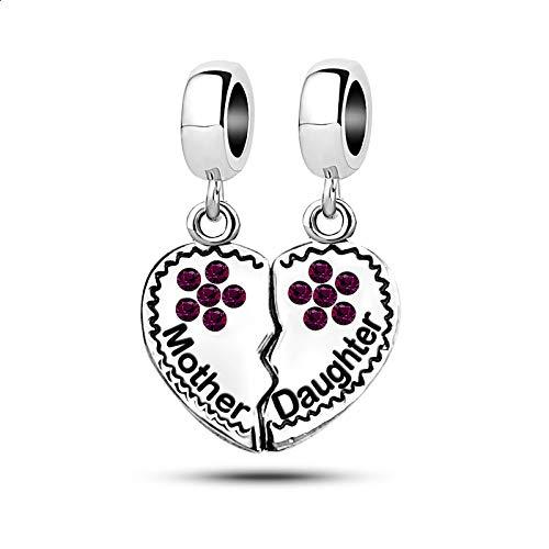 KunBead Mother Daughter Mom Girls Charms for Bracelets Birthstone Crystal Love Heart Dangle Charm Beads Purple