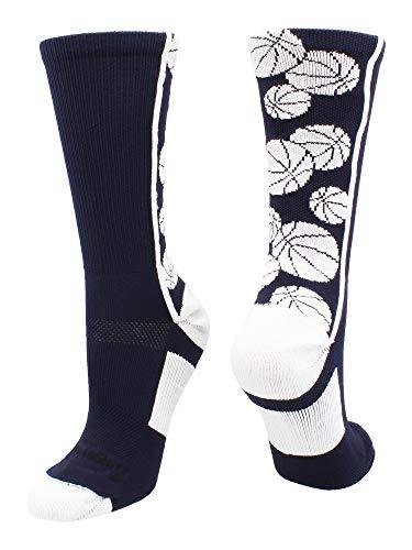 MadSportsStuff Crazy - Calcetines de baloncesto con logo (varios colores), Large, Azul marino/Blanco