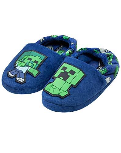 Minecraft Creeper vs Zombie Boys Blue Slipper Kinderhausschuh (UK 1)