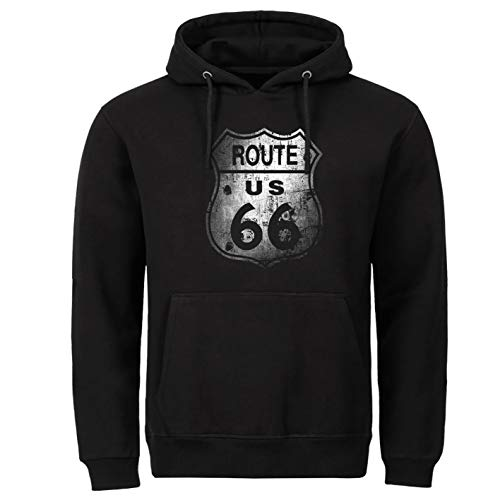Tex-Ha Sudadera con Capucha para Moto Route 66 USA California Negro XXXL