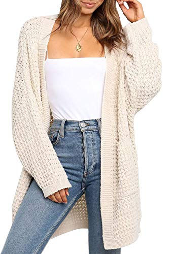 TARSE Womens Long Cardigans Waffle Oversized Open Front Knit Sweater with Pockets, Batwing Sleeve, Apricot, M
