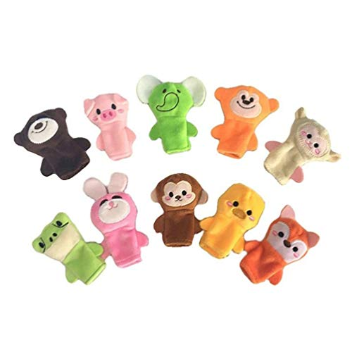 STOBOK 10pcs Animal Finger Puppets Animal Story Cartoon Soft Plush Props Toy Finger Toy for Toddlers Baby