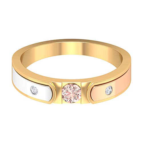 1/4 CT Lab Created Morganite Promise Ring with Diamond, Three Tone Ring (3.50 MM Round Cut Lab Created Morganite), 14K White Gold, Size:UK W
