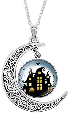 ZPPYMXGZ Co.,ltd Collar Moda Halloween Pulsera Hombres Collar Halloween Gato Negro Fantasma Imagen Cristal Mujeres Moda Hombres Pulsera Brazalete