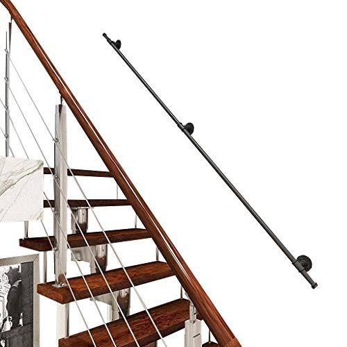 WZNING La Pared de la Escalera Baranda galvanizado Kinder Hierro Viejo Seguridad Pasamanos como Infantil Loft en Interiores y Exteriores Pasamanos, Negro rústica, Estilo Recto (Size : 400cm)
