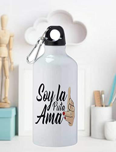 adaysusdetalles Soy LA Puta AMA Termo Botella de Agua -Jarra 500ML,Regalo Cantimplora Aislado Cafe para Llevar Bidón Botella de Aluminio