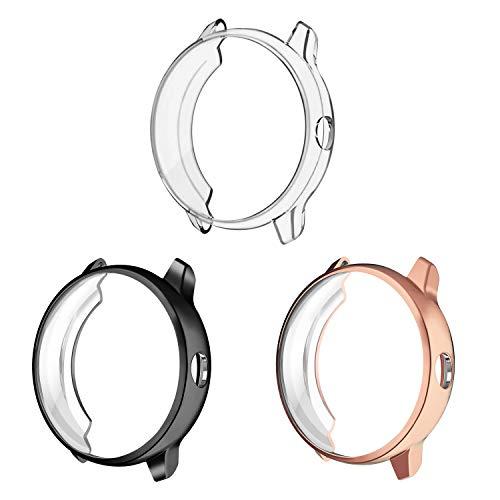 Fintie Hülle kompatibel mit Garmin Vivoactive 3 Smartwatch - [3 Stück] Ultra-Dünn Leichte Polycarbonat Schutz Gehaüse Abdeckung, Schwarz/Roségold/Transparent