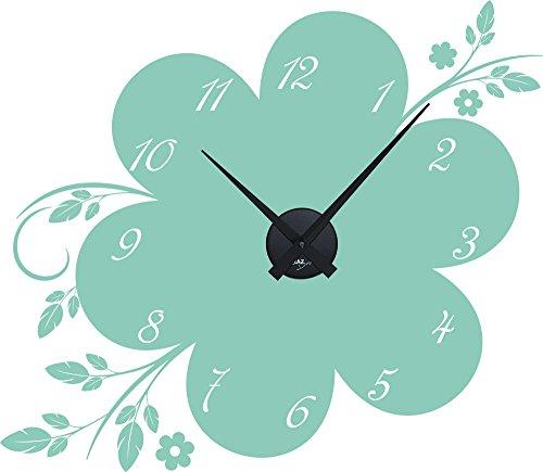 GRAZDesign Wandtattoo mit Uhrwerk Blume - Wanduhr Wohnzimmer Ornamente - Wandtattoo Uhr mit Spruch Wohnzimmer Küche Flur / 66x57cm / 800416_BK_055