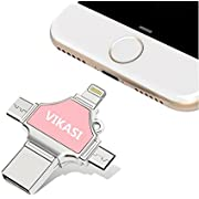 VIKASI USB Flash Drive for iPhone, USB 3.0 Memory Stick 32GB with iPhone Lightning Adapter, USB Type C Thumb Drive for iPhone X/iPad/iPod/Mac/Android/PC/iOS 3 in 1 (Pink)