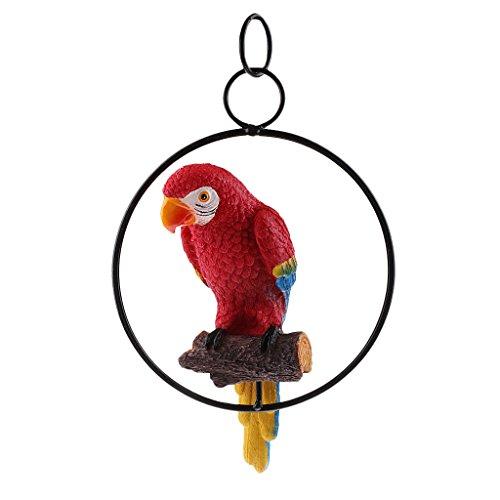 MagiDeal Hängende Zaun Papagei auf Ständer Dekofigur Wanddeko Vogel Figur Ornament - Rot 1