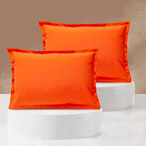Viste tu hogar Pack 2 Fundas de Cojin 40x60 cm, Algodón y Poliéster, para Decoración de Hogar en Color Naranja Liso.