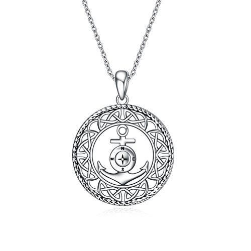 VENACOLY Collar con nudo celta infinito, plata de ley, colgante de ancla celta, regalo para esposa, mujer, madre, novia.