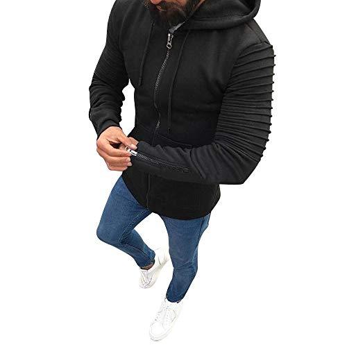 Strickjacke Herren Hoodie Mit Kapuze KaloryWee Männer Herbst Winter Coat Lässige Reißverschluss Mantel Slim Fit Pullover Outwear sportlicher Kurzmantel