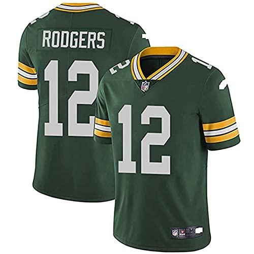 Weiyue Camiseta NFL Football Jersey Green Bay Packers Aaron Rodgers #12, Ropa Deportiva De Fútbol Americano Bordado Fans Version Camisetas(Size:Medium,Color:A)