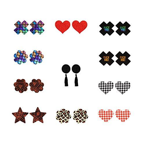 Liebe Seele Nipple Cover Brustwarzenabdeckung Sets in verschiedenen Formen und Farben, 10 Stück & 1 Geschenk Selbstklebende Nippelabdeckungen (Dunkel)