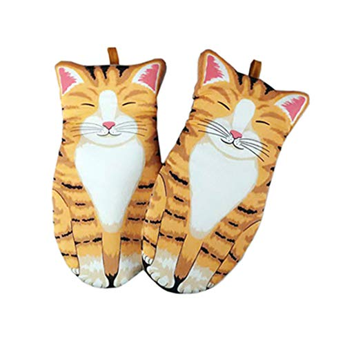 Rosavida Oven Mitts Gloves 1 Pair Heat Resistant 480 ℉ Cat's Claw Creative Kitchen Potholders Baking Gloves Comfortable Thickened Cotton Lining Anti-Scald Gloves