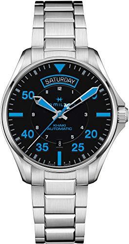Hamilton / Khaki Pilot Air Zermatt Day Date Auto / orologio uomo / quadrante nero / cassa e bracciale acciaio