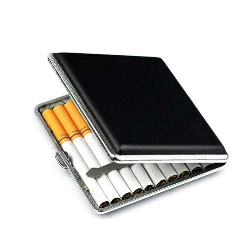Cigarrillo Leather Case/Caja/Soporte Ultra Delgado Ligero Excelente móvil LargeCapacity 20 Cigarrillos Negro Acceso Gratuito XX Kk (Color : Black)
