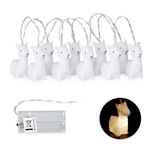 Relaxdays Lama Lichterkette, niedliche Lichterkette Kinderzimmer, batteriebetrieben, Licht warmweiß, Länge: 165 cm, weiß