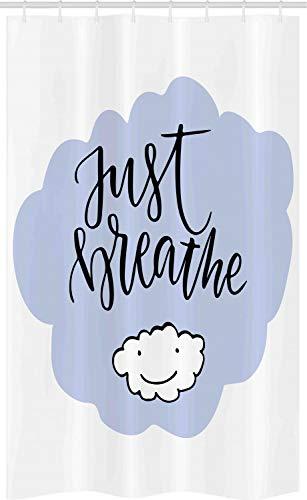 ABAKUHAUS Haal gewoon adem Douchegordijn, Wellness Lifestyle, voor Douchecabine Stoffen Badkamer Decoratie Set met Ophangringen, 120 x 180 cm, Pale Blue White