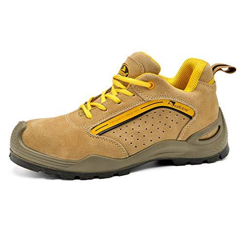SAFEYEAR Chaussure de Securité Homme Légères Chaussures de Travail Respirantes - L-7296Y S1P Basket de Sécurité Chaussures de Sécurité (41 EU, Jaune)