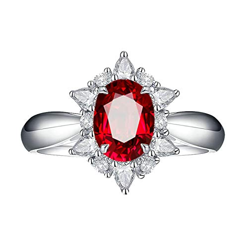Bishilin Alianzas Oro Blanco 750 Clásico Bandas de Boda Rojo Rubí Diamante Anillo de La Banda de Bodas de Compromiso de Aniversario Ajuste Cómodo Forma Ovalada Joyas Elegantes para Mujer Rojo