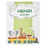 Wolimbo Flausch Babydecke mit Namen und Tiere Zug Motiv - personalisierte/individuelle Geschenke für Babys und Kinder zur Geburt, Taufe und Geburtstag - 75x100 cm