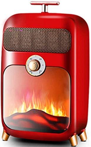 KAUTO Stufa elettrica, Stufa elettrica retrò 900W Stufa a Legna Stufa a Fuoco W Effetto Fiamma Fuoco caminetto Indipendente a Legna Luce LED Temperatura Regolabile, Rosso
