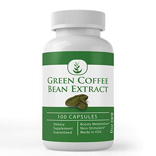 Green Coffee Bean Extract, 100 Capsules, 840 mg Servings, 50% Chlorogenic Acid, Non-Stimulant, Lab-Tested & Gluten-Free, Pure, Non-GMO, No Additives or Fillers, Made in USA, Satisfaction Guaranteed