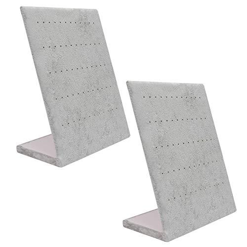 Oorbellen Houder (2Pak) van Belle Vous - Grijs Velours Sieraden Oorbellen Standaard met 60 Gaten (30 Paar) – L Gevormde Display Rek Organiser Bak Voor het Hangen van Knopjes en Vertonen van