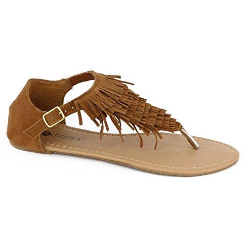Chatties Women's Fringe Sandal (11 B(M) US, Brown Fringe)
