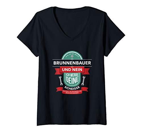 Damen Ja, Ich Bin Brunnenbauer I Lustiges Brunnenbau T-Shirt mit V-Ausschnitt