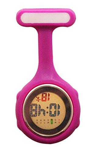 Ellemka - Krankenschwestern Pfleger Chefs | Digitale Anzeige Ansteckuhr Taschenuhr | Digitales Quarzuhrwerk | Hängeband aus Silikon mit Pinnadel | NS-888 -Viola Violett Geschenkbox