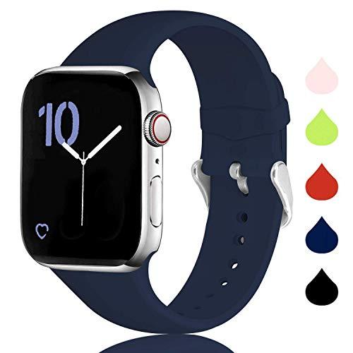 Sichen Correa Compatible con la Serie de Relojes 6/5/4/3/2/1, Correa de Repuesto Deportiva de Silicona Suave para Apple Watch 44 mm 42 mm 40 mm 38 mm