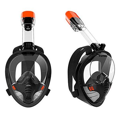 JUYHTY Conjunto De Snorkel con Parte Superior Seca De Cara Completa Versión Mejorada Plegable Más Seguro Vista Panorámica De 180 ° Máscaras De Buceo Antivaho Bolsa De Equipo Antifugas,Negro,XL
