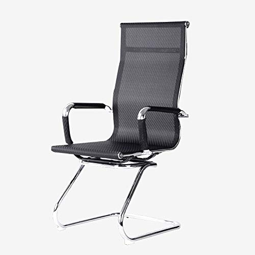 Office Boardroom Cantilever bureaustoel Chrome Frame afwerking met PU Leather Bezoekers Stoel, Personeel Chair Lift Office Chair - Black (Color : B)