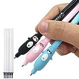Erasable and Cute Kawaii Pens - 3pk with 6 Refills - Big Pen Grips - Kawaii Stationary Kids School Supplies