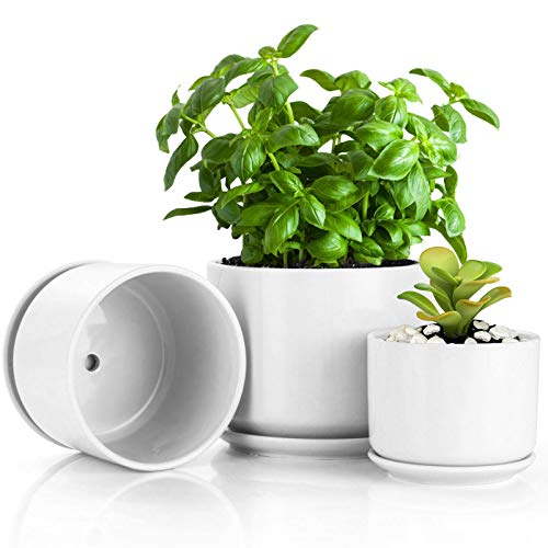 BUYMAX 4.2+5.2+6.2 inch Glazed Plant Pots with Connected Saucers, Round Modern...