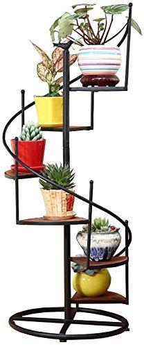 XXY.XXY Mehrschichtige Blumenregal 6/8 Ebenen drehen Leiter Pflanzenständer mit Holz und Eisen Metall - Gartentreppe Blumentopf Halter Indoor Storage Eckregal für Wohnzimmer/Balkon (Größe: 8 Ebenen /